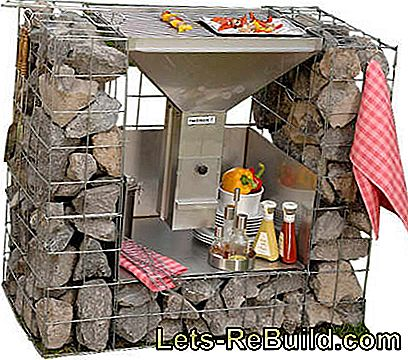 Grill description: Grill made of gabions with natural stones - blueprint: made