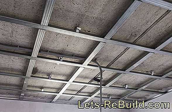 Suspend a concrete ceiling with plasterboard