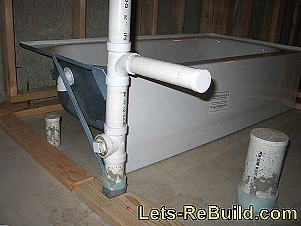 A concrete tub from the bathroom to the basement