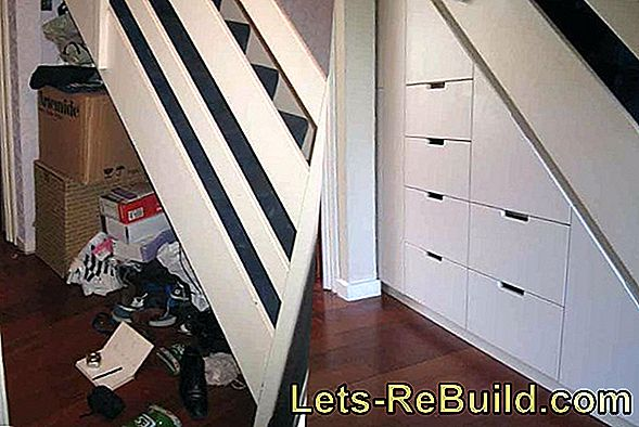 Drawers under stairs - use space