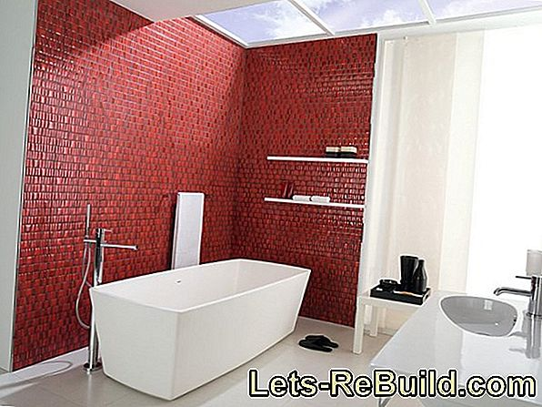 Accents set with red mosaic tiles