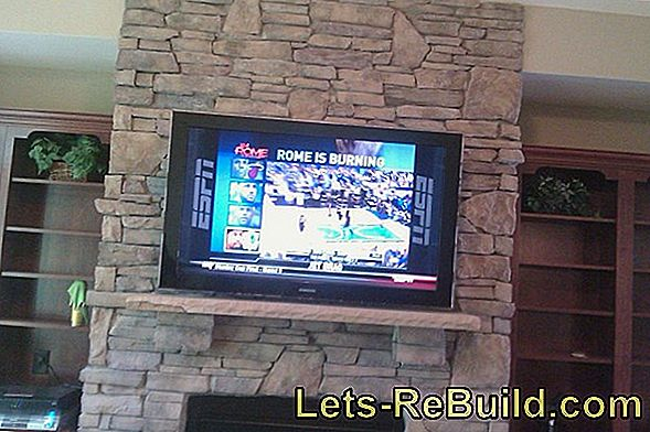 Attach a stone wall behind the TV