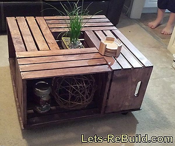 Build a coffee table from fruit crates