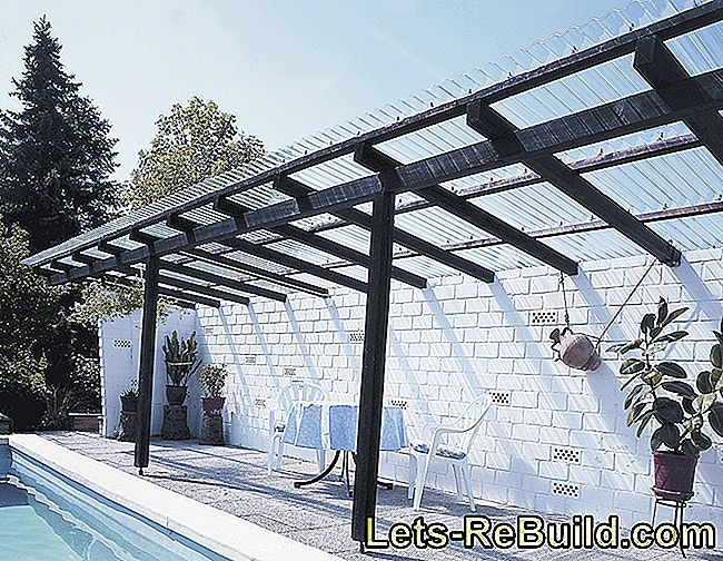 Self-built, modern terrace roofing made of acrylic glass corrugated sheets