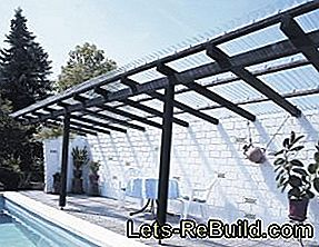 Self-built, modern terrace roofing made of acrylic glass corrugated sheets: roofing